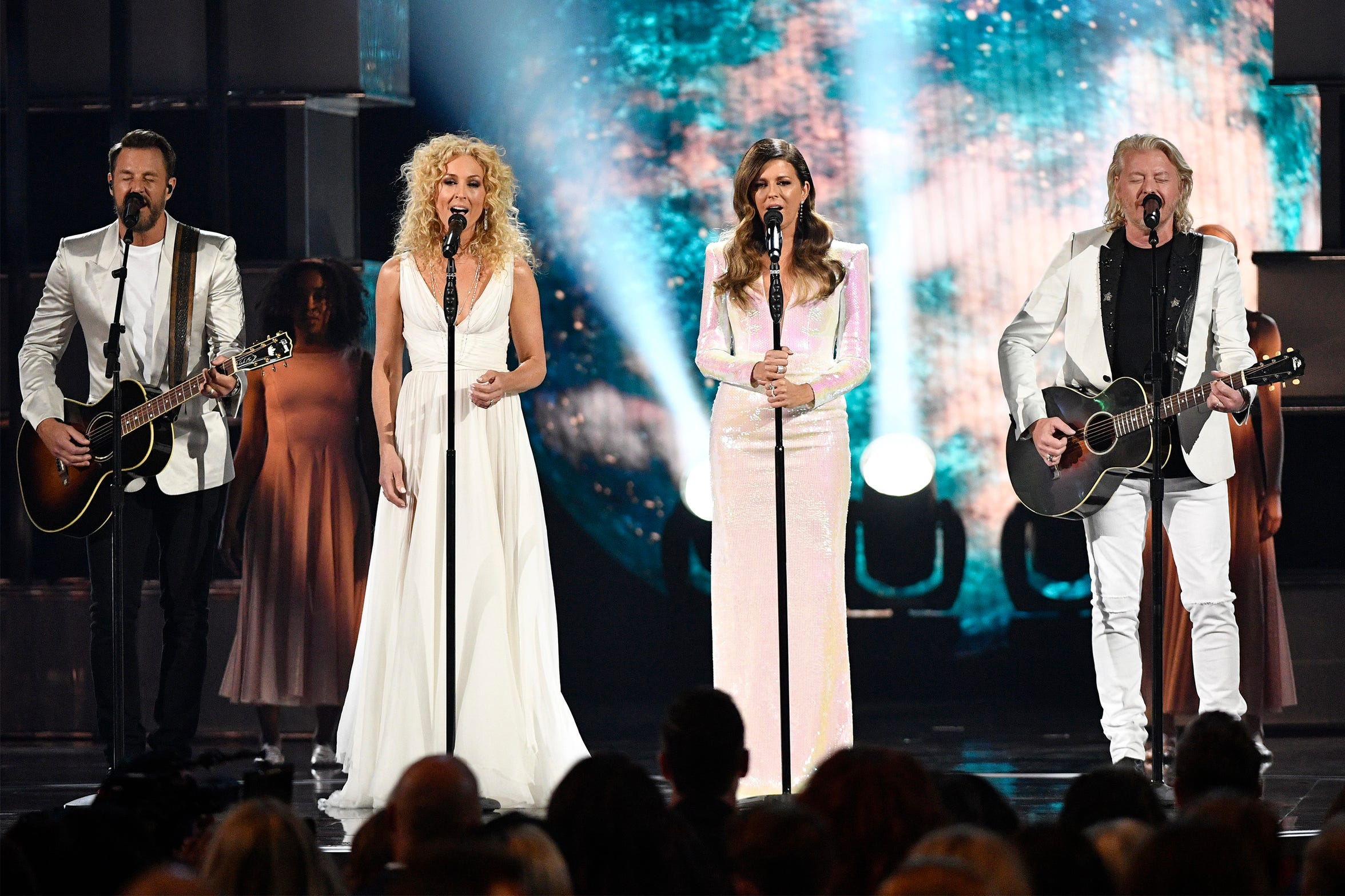"Jimi Westbrook, Kimberly Schlapman, Karen Fairchild and Phillip Sweet of Little Big Town perform ""The Daughters"" during this year's Academy of Country Music Awards in Las Vegas."