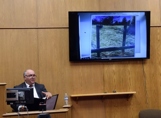 John Mazzone, manager of Moundbuilders Country Club in Newark, gives testimony about damaged signage for the Octagon Earthworks during the final day of evidentiary hearings in the civil case between Moundbuilders Country Club and Ohio History Connection on Monday, April 8, 2019. Mazzone testified that the maintenance of such educational and directional signage for the earthworks was the responsibility of the Ohio History Connection.