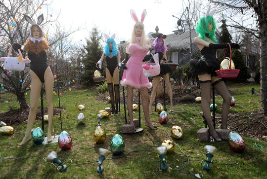 The home at the corner of Robin Hood Rd. and Grove St. in Clifton is turning heads again, this time with Playboy Bunny mannequins to celebrate Easter. Monday, April, 8, 2019
