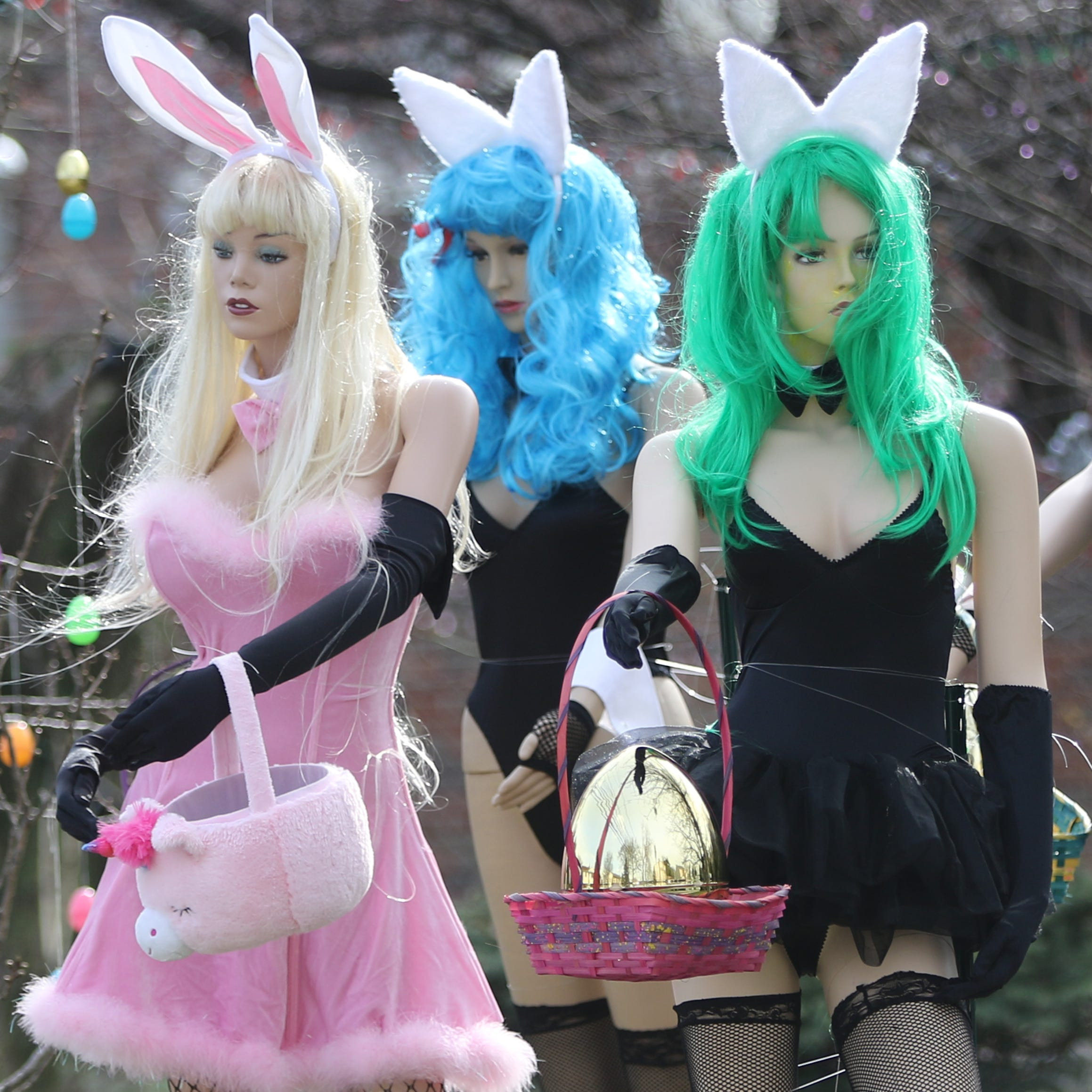 Sexy Easter mannequin display earns Clifton dentist 'Hugh Hefner' nickname