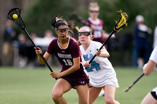 Ridgewood's Marley Scala (16) drives to the net with pressure from IHA's Mary Pat Sayre (24). No. 1 Ridgewood defeated No. 2 IHA 19-5 on Monday, April 8, 2019, in Washington Township.