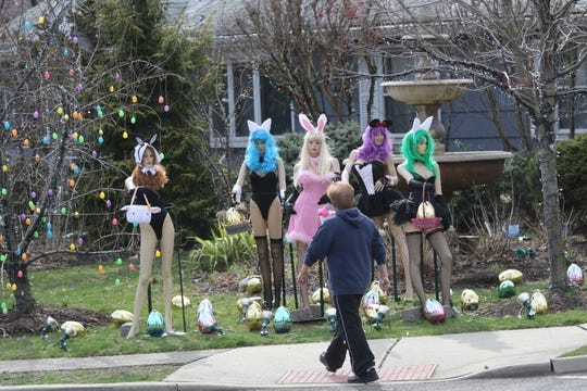 The home at the corner of Robin Hood Rd. and Grove St. in Clifton is turning heads again, this time with Playboy Bunny mannequins to celebrate Easter. At least one passer by gave the display a thumbs-up.  Monday, April, 8, 2019