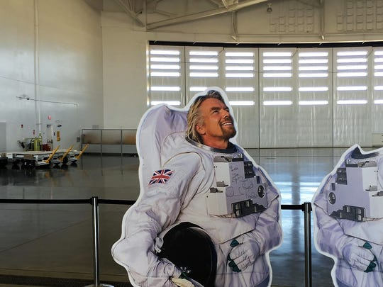 A cut-out of Virgin Galactic founder Richard Branson was on display at Spaceport America's open house on April 7, 2019.