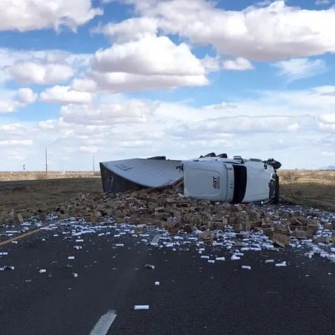 Light load? Semitruck flips on I-10 near Lordsburg, spills candles everywhere