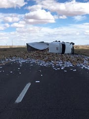 A semi truck carrying tons of candles overturned on Interstate 10 eastbound, near mile post 32 east of Lordsburg, Saturday, April 6.