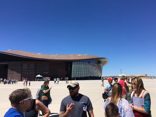 On the lot outside a hangar at Spaceport America, visitors watched planes taxi on the runway, small rocket launches, demonstrations by first responders, and dance performances at Spaceport America's open house, April 7, 2019.