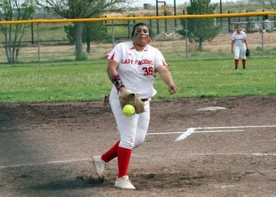 Lorisa Martinez pitches in April for the Lady Falcons. In the state tournament, Martinez was 3-0 with 24 strikeouts to help Loving win state title No. 17.