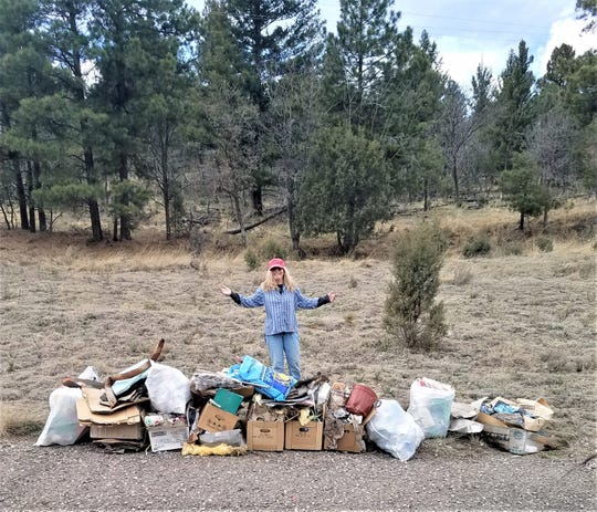 As the nation prepares to celebrate National Volunteer Month, Ruidoso resident Peggy Fyie mounts a community clean-up on her own, targeting a quarter mile in the village.