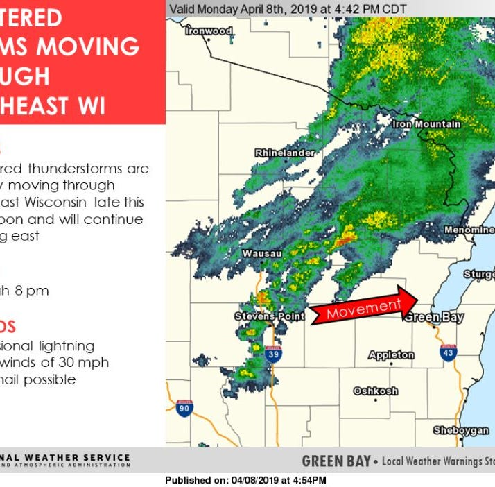 Scattered thunderstorms expected to hit in Northeast Wisconsin this evening