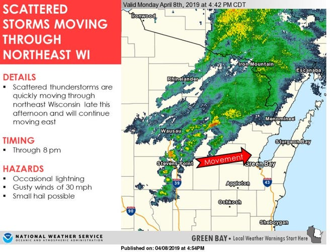 Scattered thunderstorms may bring small hail and lightening this evening.