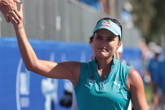 Lexi Thompson walks onto the 18th green of the Dinah Shore Course at the ANA Inspiration, Rancho Mirage, Calif., April 7, 2019.