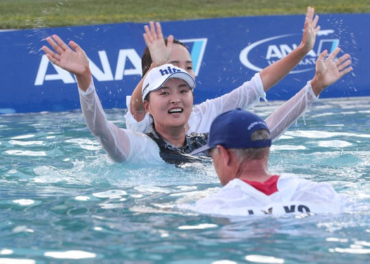 Jin Young Ko reacts to winning the ANA Inspiration at Mission Hills Country Club in Rancho Mirage, April 7, 2019.