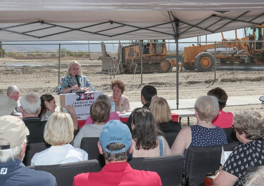 Jan Duncan announces the Duncan Bridge Center which will be the home of the Coachella Valley Bridge Foundation on the Xavier Prep campus in Palm Desert, April 8, 2019. She and her husband, Ray Duncan, were the co-founders of the Coachella Valley Bridge Foundation and provided the seed money for the group to build its own facility.