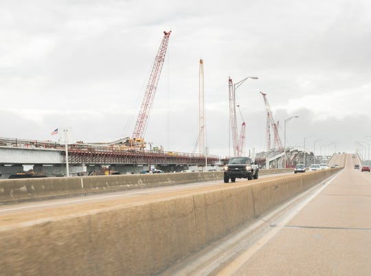 The first span of the Pensacola Bay Bridge nears completion in Pensacola on Monday, April 8, 2019.