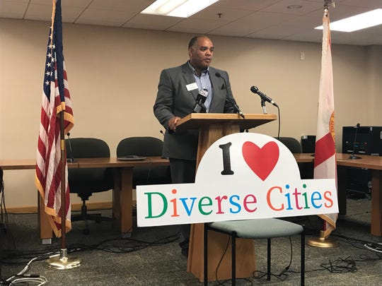 Brian Wyer, president of Gulf Coast Minority Chamber of Commerce, speaks Monday at Pensacola City Hall.