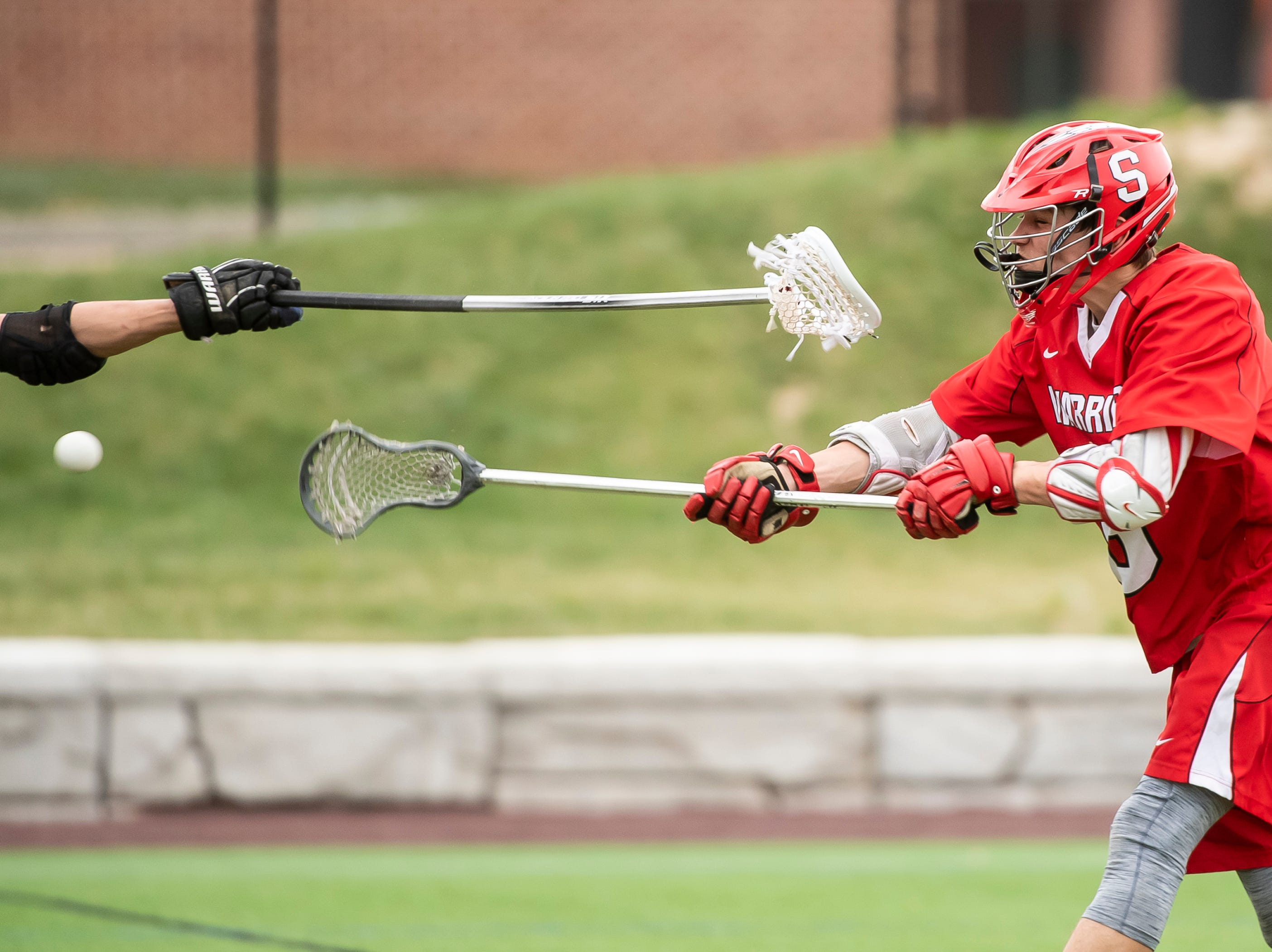 Susquehannock's Ben Wilson takes a shot during a YAIAA lacrosse game against South Western in Hanover on Monday, April 8, 2019. Susquehannock won 14-3.