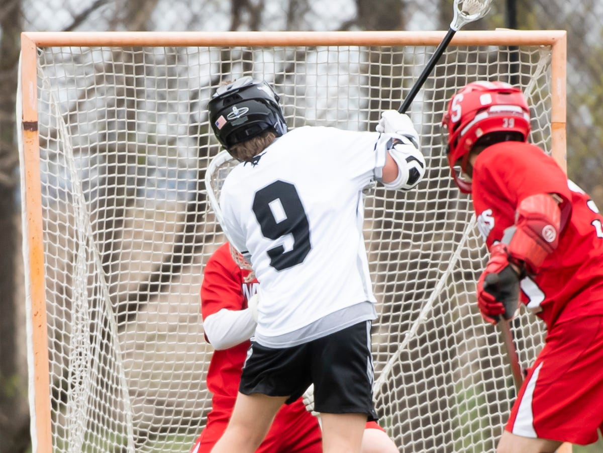 South Western's Shay Davidson (9) takes a shot during a YAIAA lacrosse game against Susquehannock in Hanover on Monday, April 8, 2019. Susquehannock won 14-3.