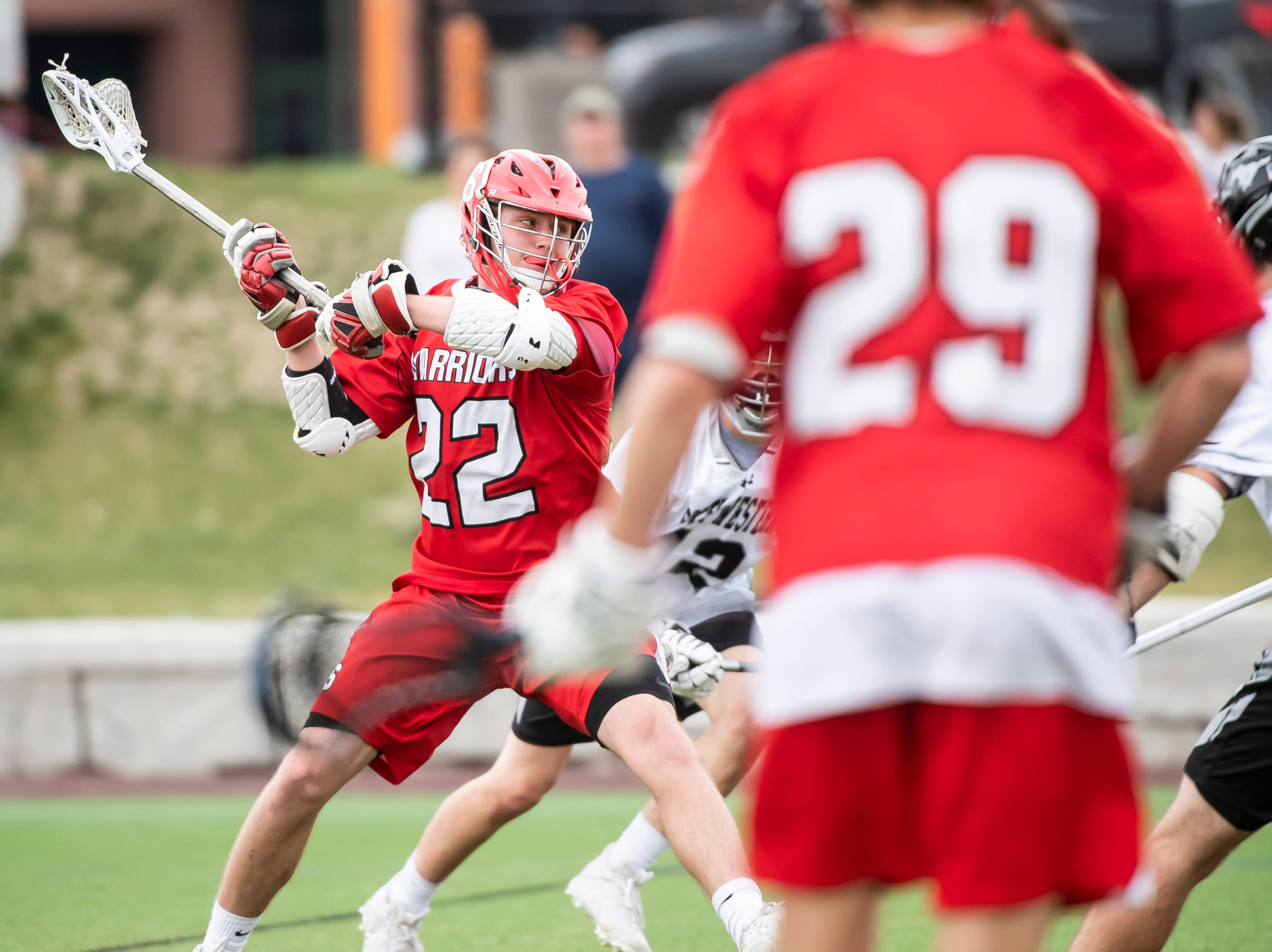 Susquehannock's Allen Clapp takes a shot on goal during a YAIAA lacrosse game against South Western in Hanover on Monday, April 8, 2019. Susquehannock won 14-3.