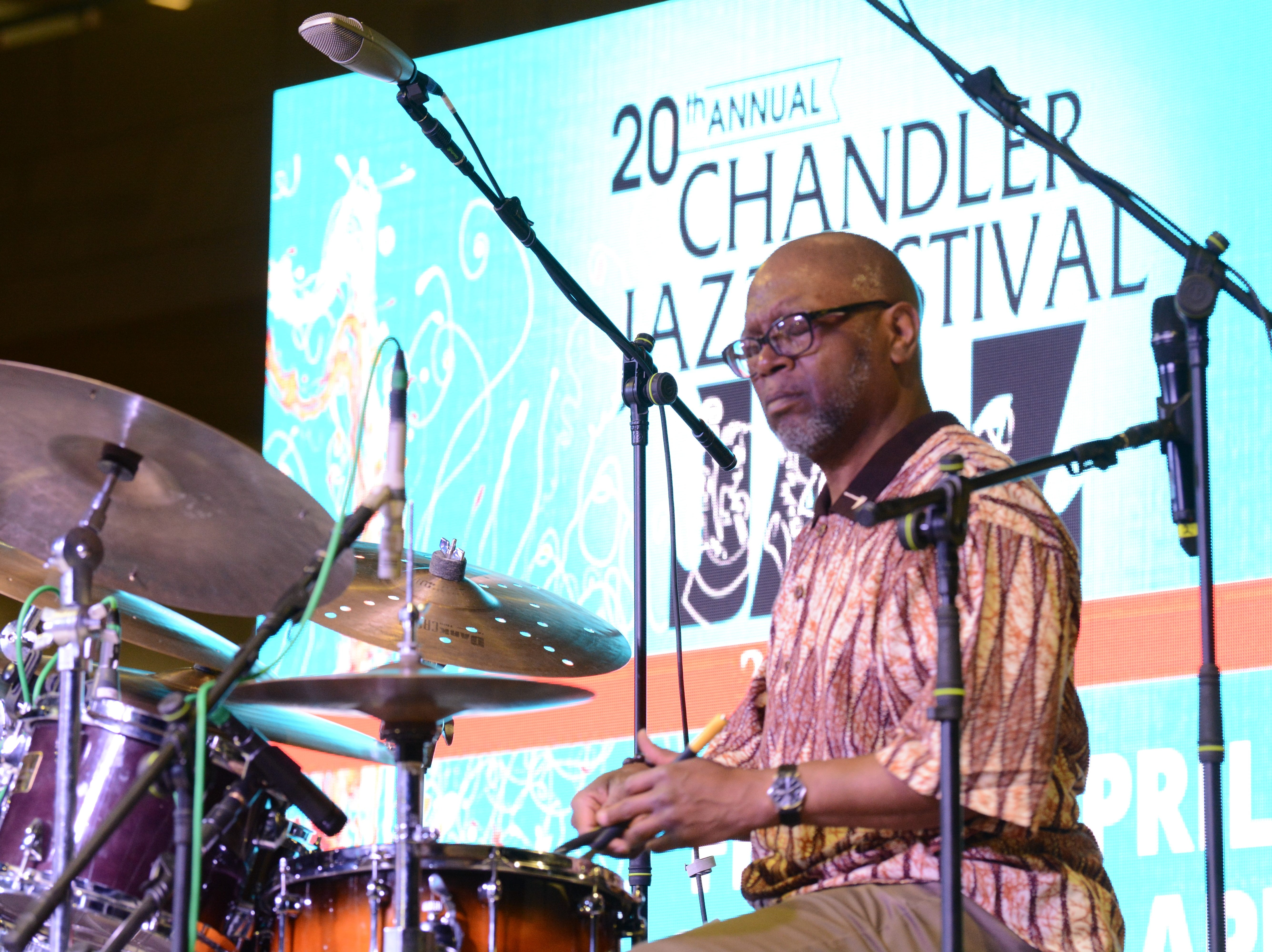 Drummer Lewis Nash performs with the Dizzy Gillespie All-Star Band at the Chandler Jazz Festival on April 6, 2019.