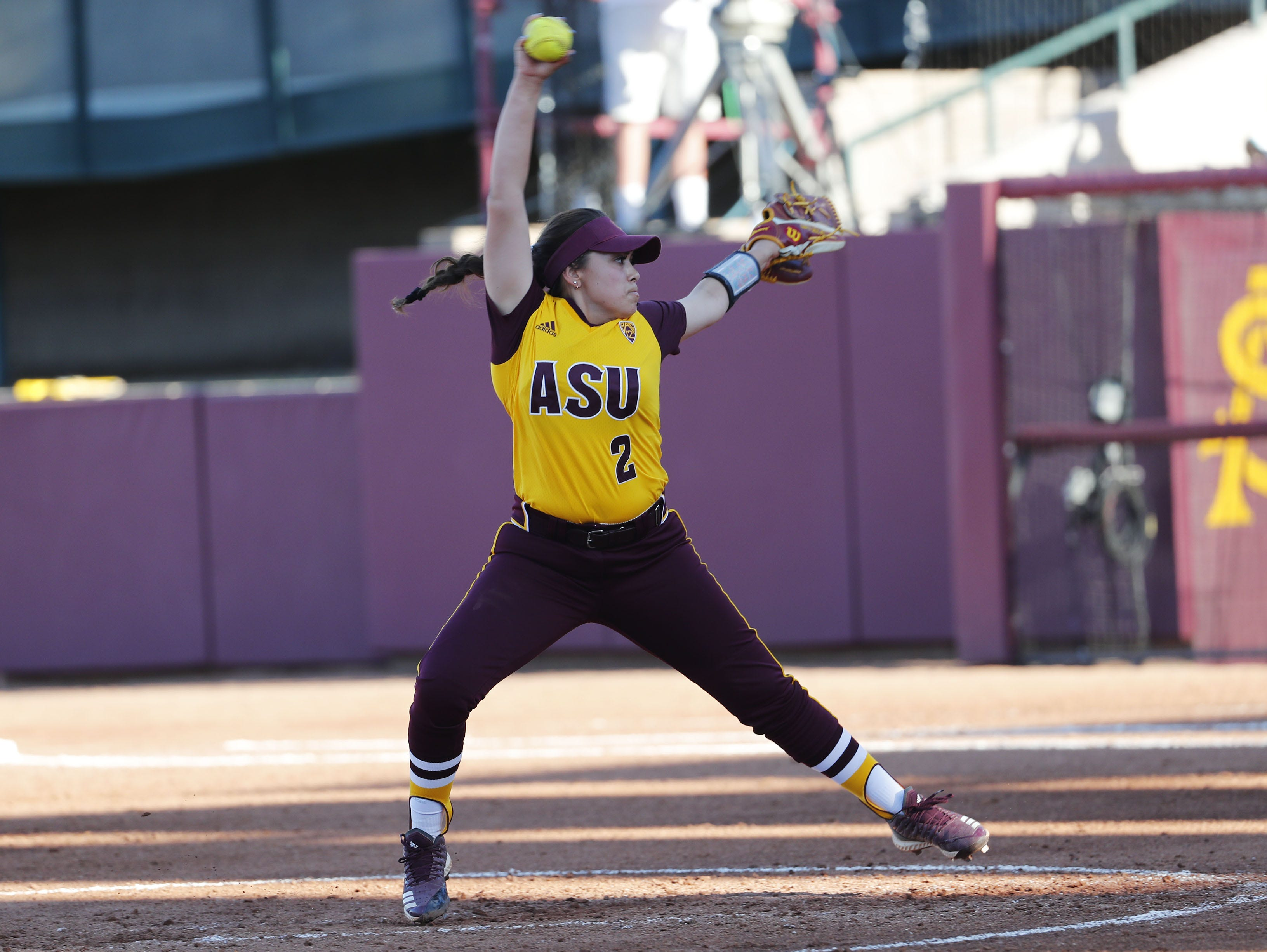 ASU's Mikayla Santa Cruz throws against UCLA during the third inning at Farrington Stadium in Tempe, Ariz. April 7, 2019.