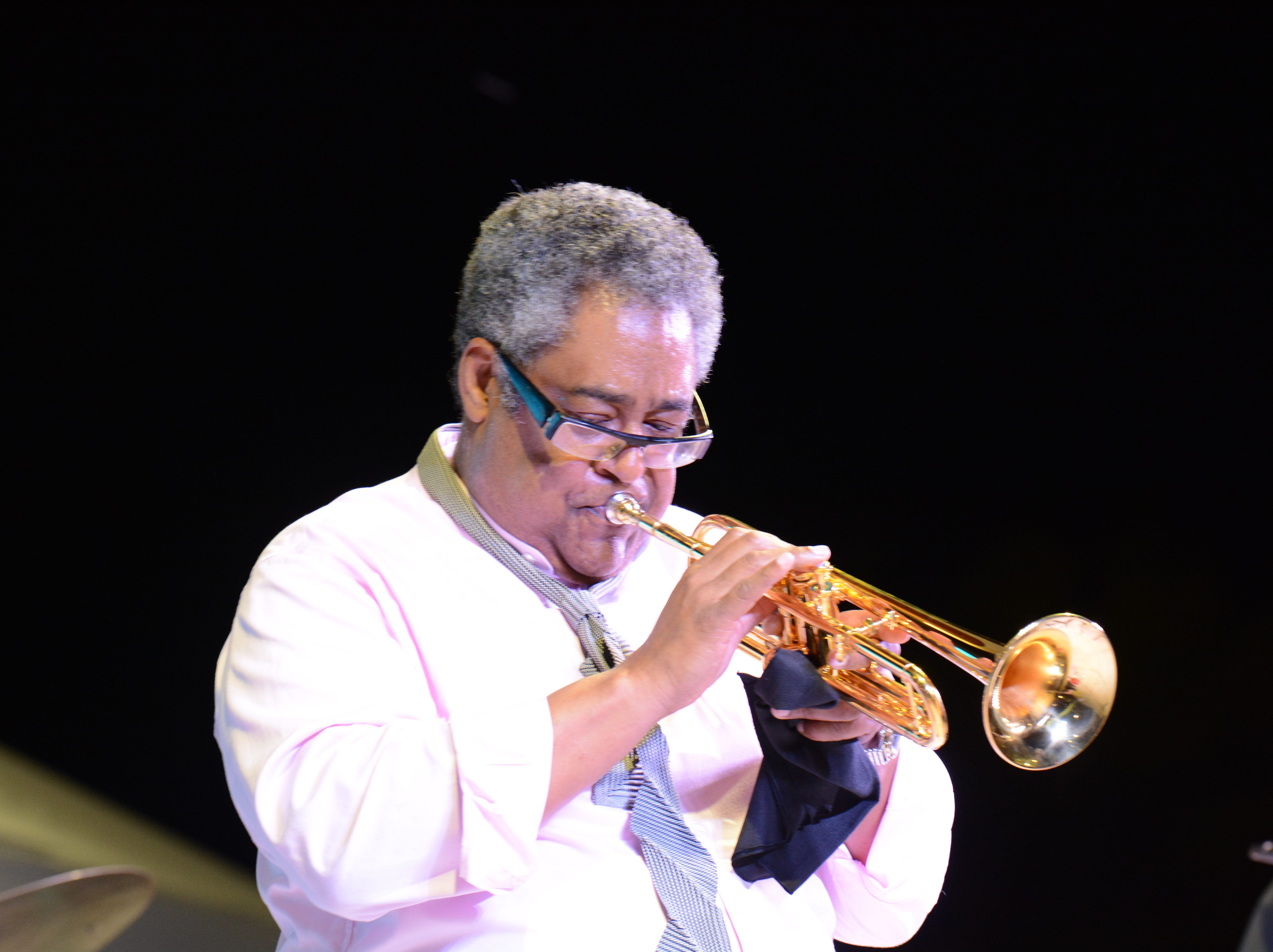 Trumpeter Jon Faddis performs with the Dizzy Gillespie All Star band at the Chandler Jazz Festival on April 6, 2019.