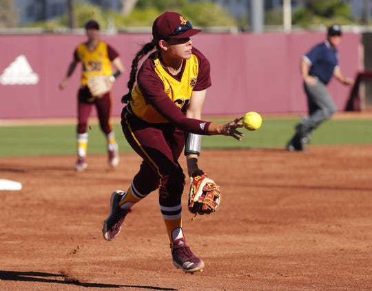 ASU shortstop Jade Gortarez throws to third base against UCLA during the second inning at Farrington Stadium in Tempe, Ariz. April 7, 2019.
