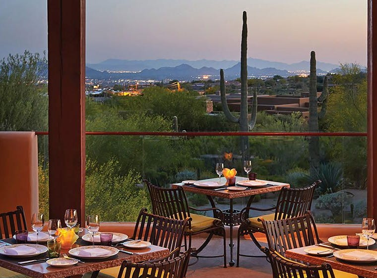 FOUR SEASONS RESORT SCOTTSDALE AT TROON NORTH | At Talavera a buffet ($118, $48 for ages 5-12) will be served 10 a.m.- 2 p.m. and feature a seafood and raw bar, tapas, salads, omelet station, baked lemon ricotta pancakes, desserts and a carving station with roasted leg of lamb, beef rib roast and salmon. There will also be a children's buffet. Reservations required. At Proof, an American Canteen, a buffet ($42, $20 for ages 5-12) will be served 7 a.m.-1 p.m. DETAILS: 10600 E. Crescent Moon Drive, Scottsdale. 480-513-5085, proofcanteen.com, talaverarestaurant.com.