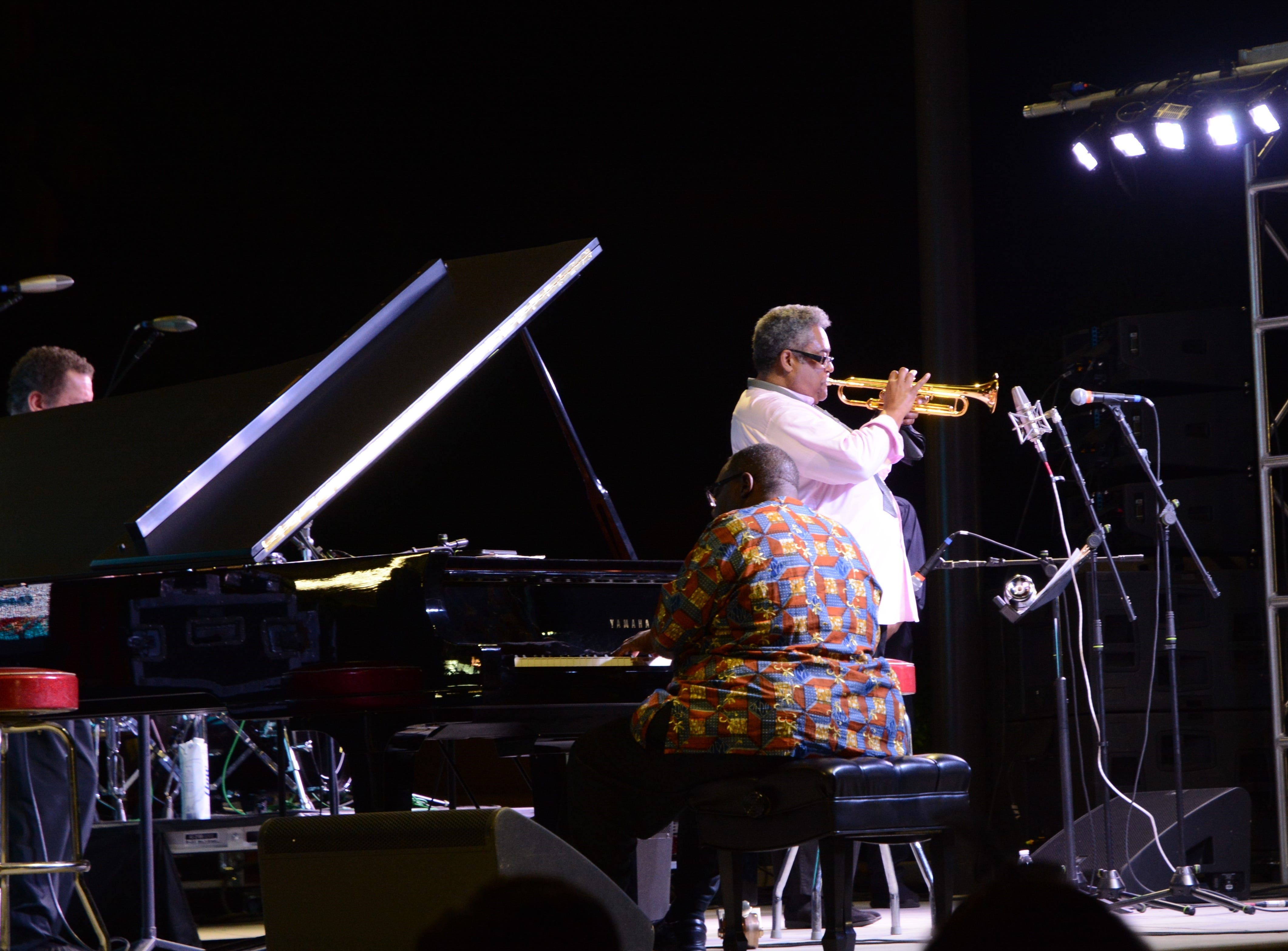 Pianist Cyrus Chestnut (left) and trumpeter Jon Faddis perform at the Chandler Jazz Festival on April 6, 2019 as part of the Dizzy Gillespie All-Stars band.