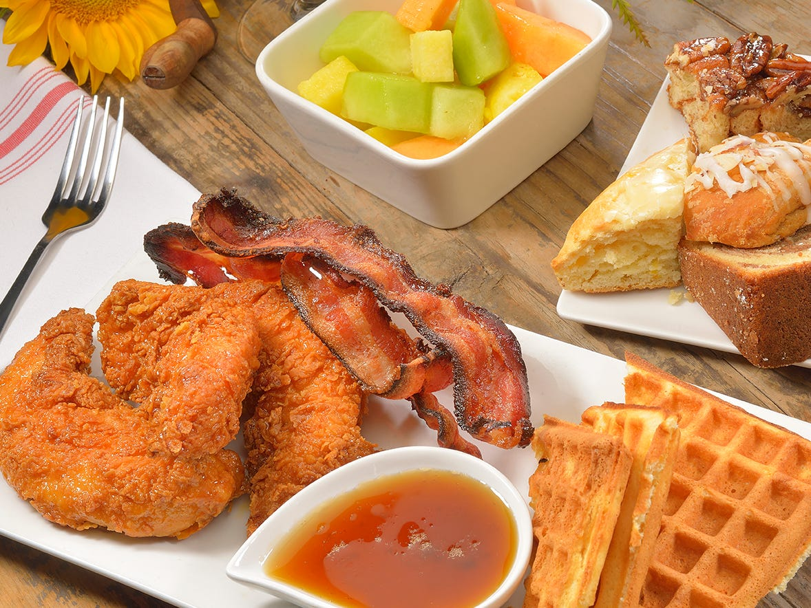 SALTY SOW | A buffet ($34.95, $19.95 for ages 6-12) will be served 9 a.m.-2 p.m.and flaunt an array of savory and sweet dishes including honey rosemary dipped fried chicken andwaffles, chorizo stuffed pork belly with whole grain mustard jus, banana chocolate chip French toast, green chili pork topped with poached eggs andwarm buttered tortillas, hot smoked salmon served with mustard dill and creme fraiche, and made-to-order omelets.DETAILS: 4801 E. Cactus Road, Phoenix.602-795-9463, saltysow.com.