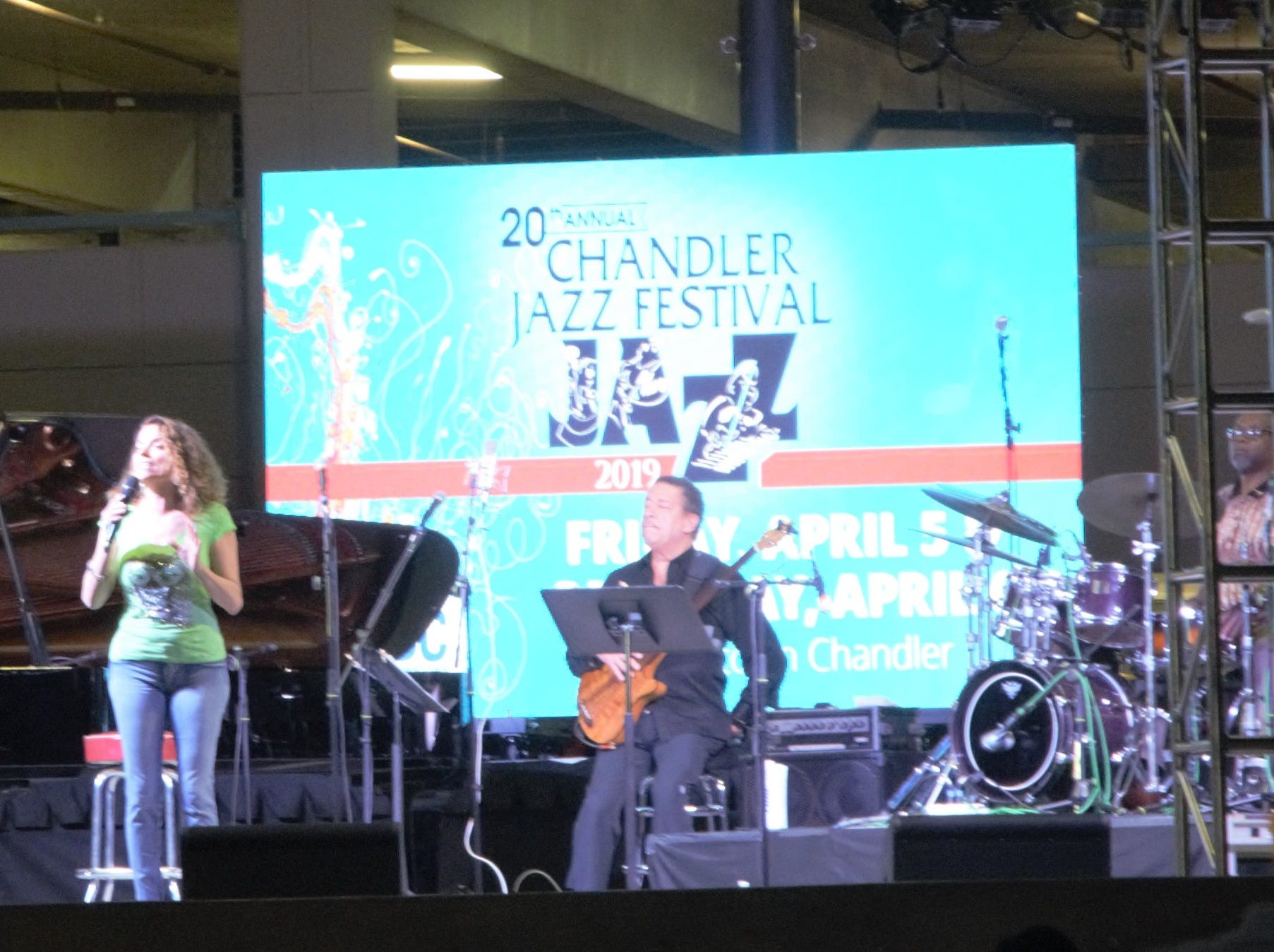 Roberta Gambarini (center left) sings with the Dizzy Gillespie All-Star Band at the Chandler Jazz Festival on April 6, 2019.