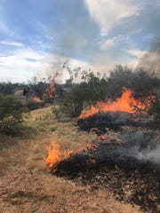 Wildfire of about 180 acres was burning in northwest Maricopa County April 8, 2019.