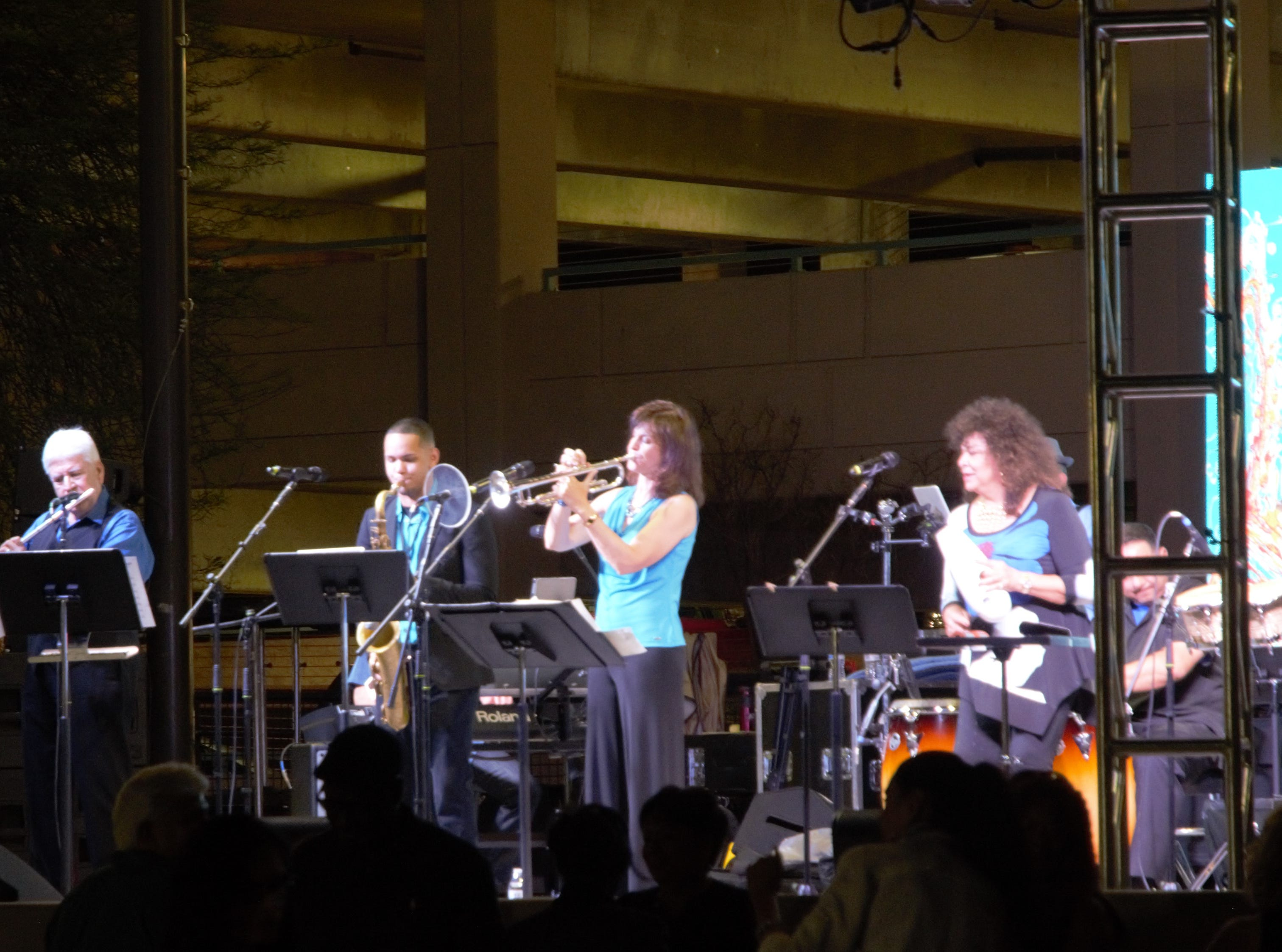 Carmela Ramirez (right) and her band Carmela y Mas play at the Chandler Jazz Festival on April 6, 2019.