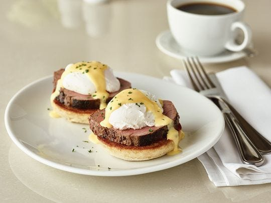 FLEMING'S STEAKHOUSE | A three-course menu ($30-$45), served from 10 a.m.-3 p.m., includes starters, sharable sides and dessert. Entree options include the signature eggs Benedict, as well as steak and spring vegetable quiche.