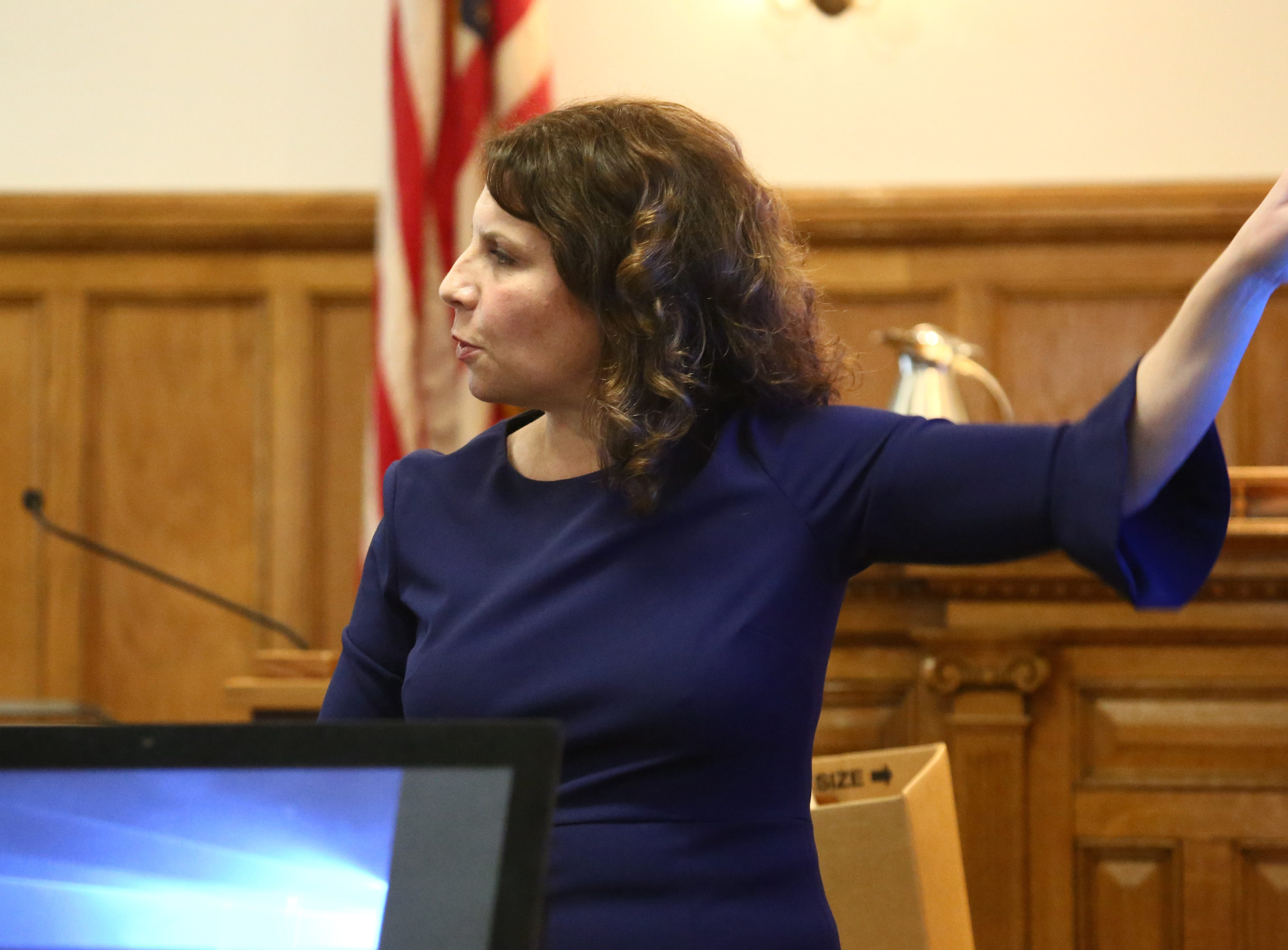 Putnam County assistant district attorney Chana Krauss makes her closing statement in the Nicole Addimando murder trial in Dutchess County Court on April 8, 2019.