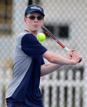 Jack Citrone of West York plays Antonio Corona of Hanover in the numbest two seed match, Monday, April 8, 2019.John A. Pavoncello photo