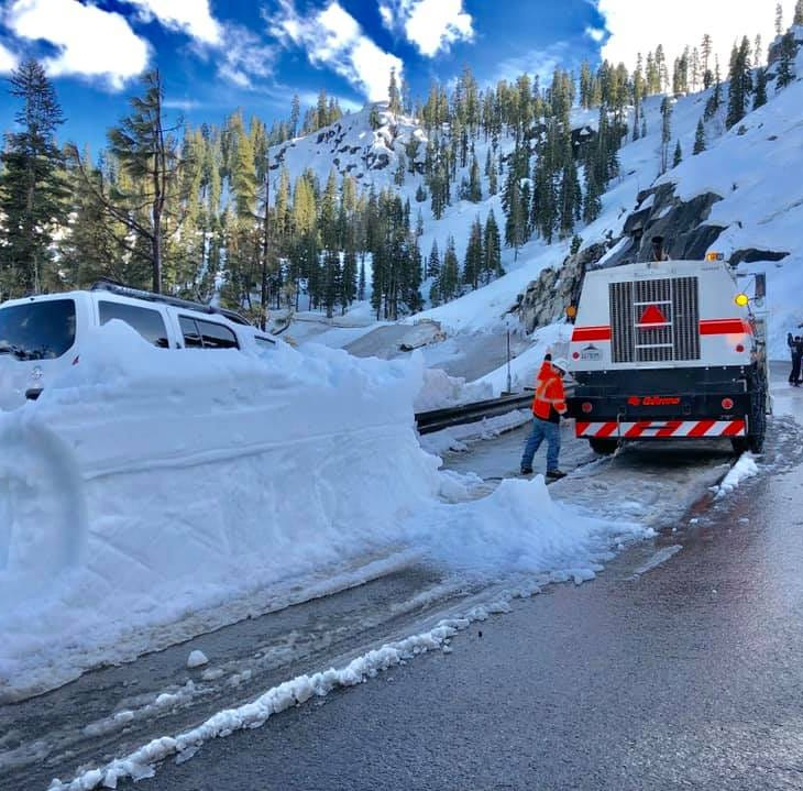 Avalanche on U.S. 50 near South Lake Tahoe sweeps SUV into head-on crash