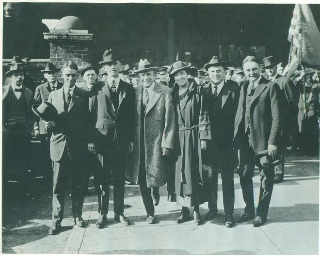 Billy Sunday and his wife posed with local officials on April 15, 1922, at the start of his six-week Gospel revival. From left: Police chief William Everson (hat in hand), Mayor Lawrence A. Handley, Billy and Helen Sunday, Fred Rapp (Billy's business manager) and Reverend R.W. Stoakes, pastor of the First Methodist church.