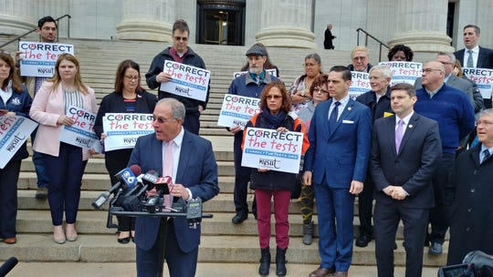 Andy Pallotta, president of NYSUT, called on the state's education department to reform its standardized testing on Monday.