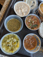 The many salsa options (and some rice pudding in the mix).
