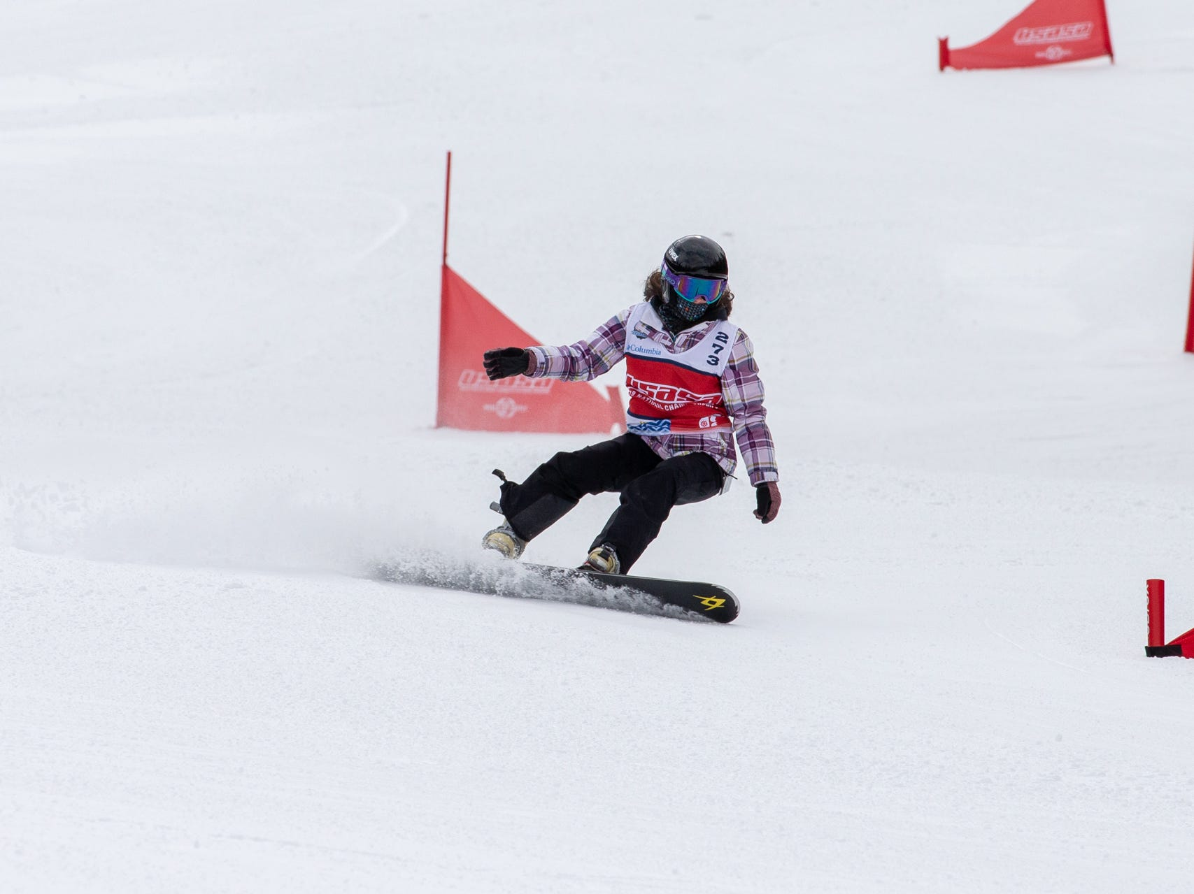 Kelsey Hunter of Shasta / North State snowboarders compete at the 2019 USASA National Championships at Copper Mountain in Colorado.