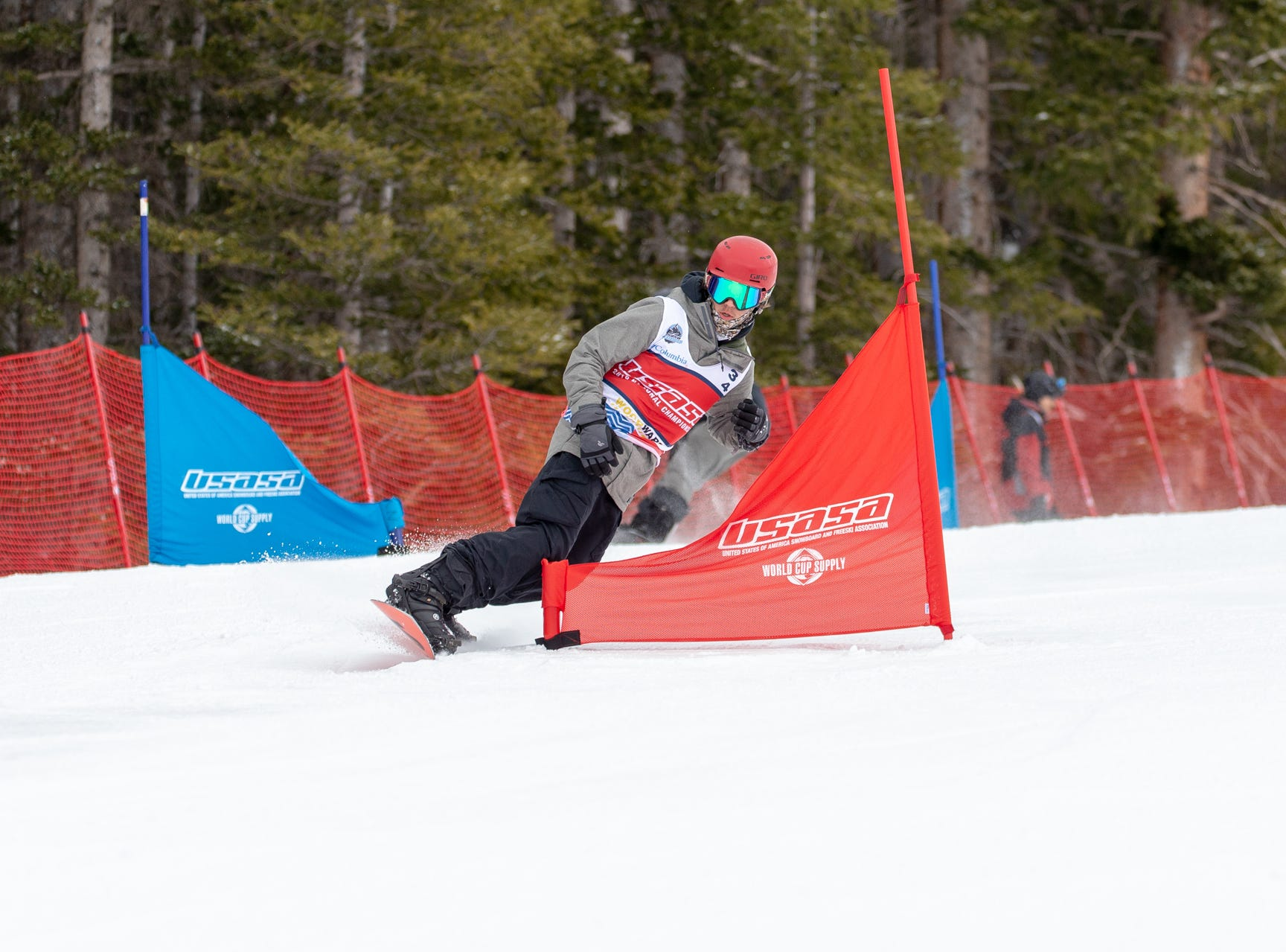 Gabe Rubanowitz of Shasta High / North State snowboarders compete at the 2019 USASA National Championships at Copper Mountain in Colorado.