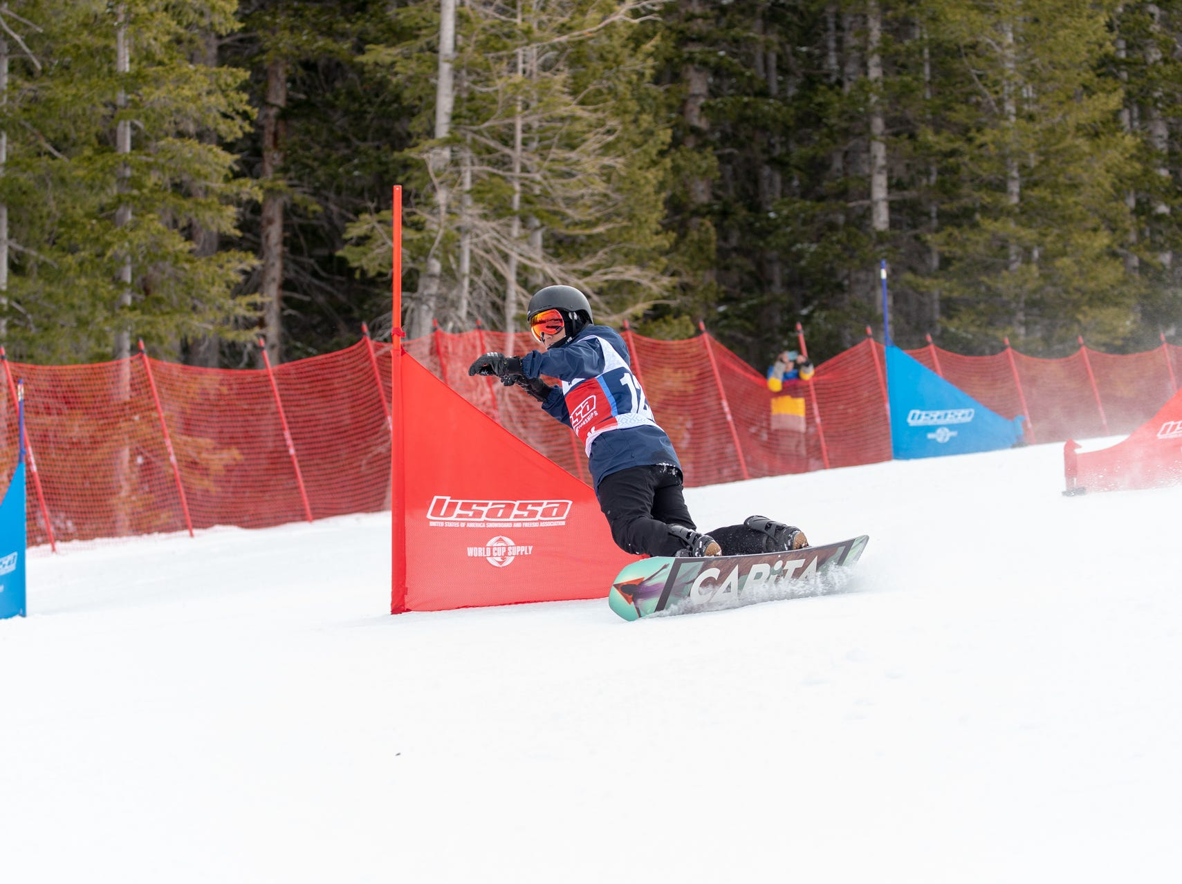 Joe Vericker of Shasta / North State snowboarders compete at the 2019 USASA National Championships at Copper Mountain in Colorado.