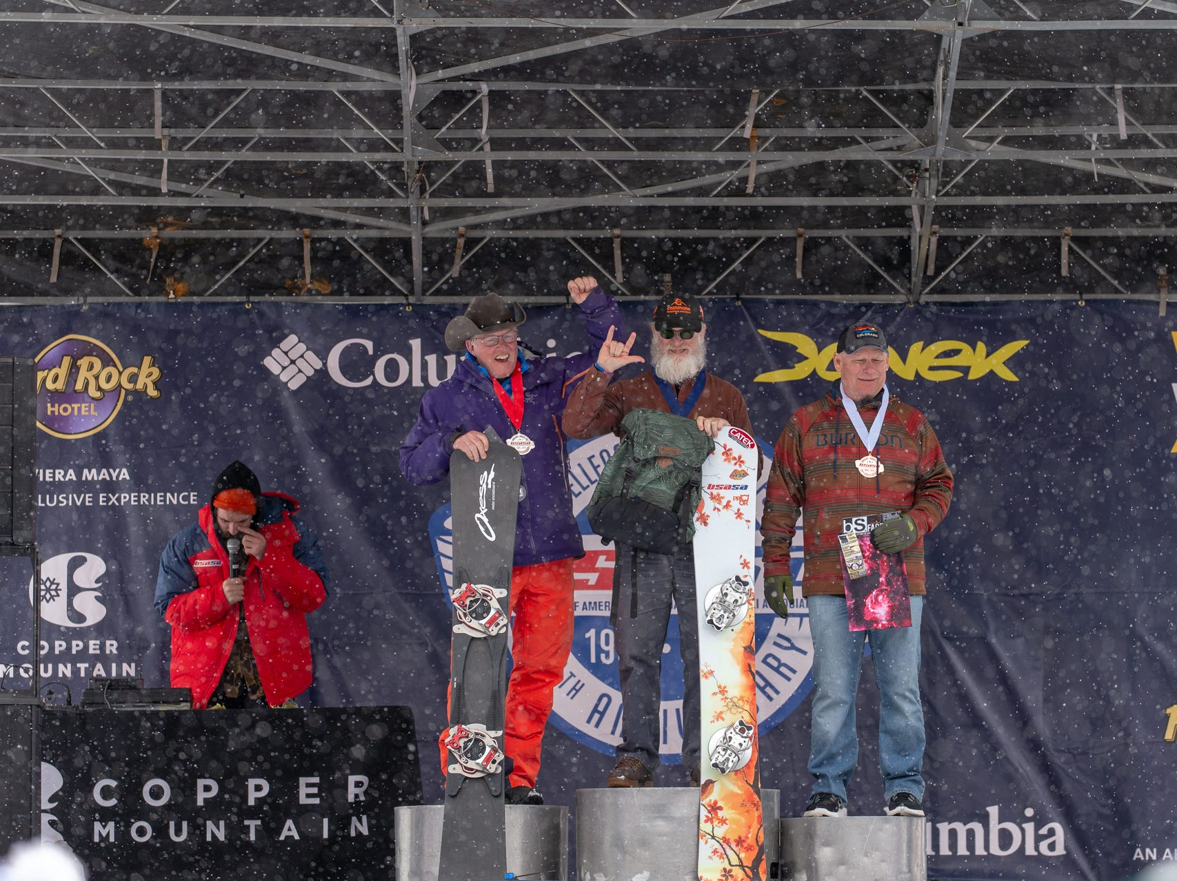 Shasta coach Paul Schwartz (left) / North State snowboarders compete at the 2019 USASA National Championships at Copper Mountain in Colorado.