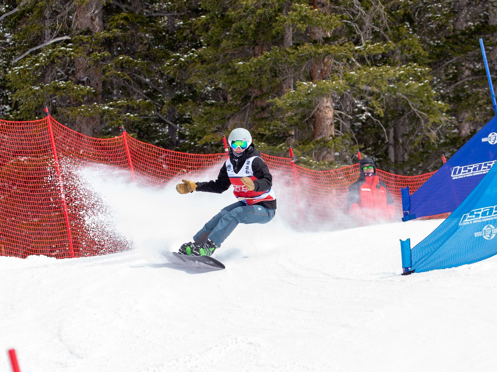 Tate Harkness of Mt. Shasta / North State snowboarders compete at the 2019 USASA National Championships at Copper Mountain in Colorado.