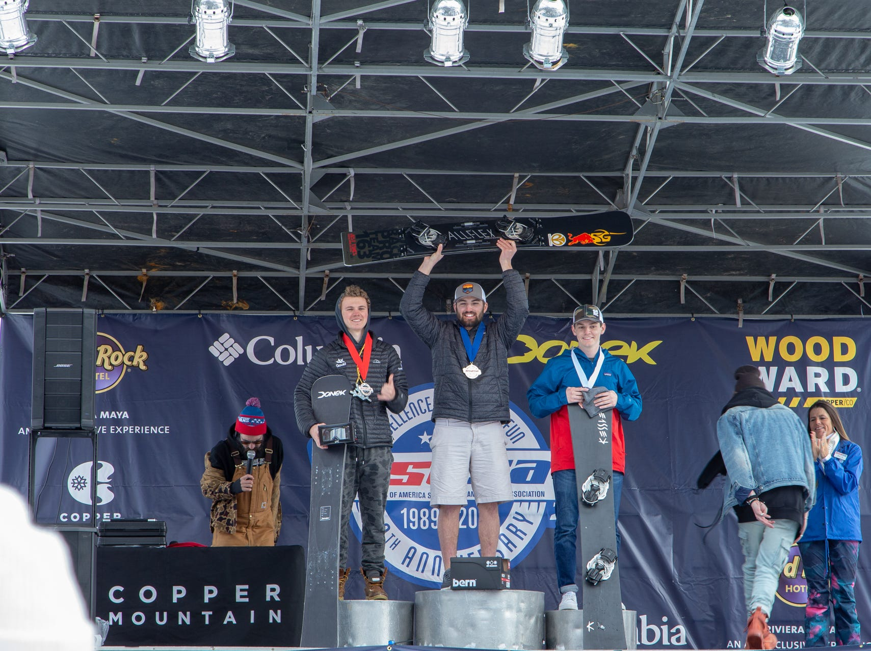 Justin Youngman of Foothill (center) / North State snowboarders compete at the 2019 USASA National Championships at Copper Mountain in Colorado.