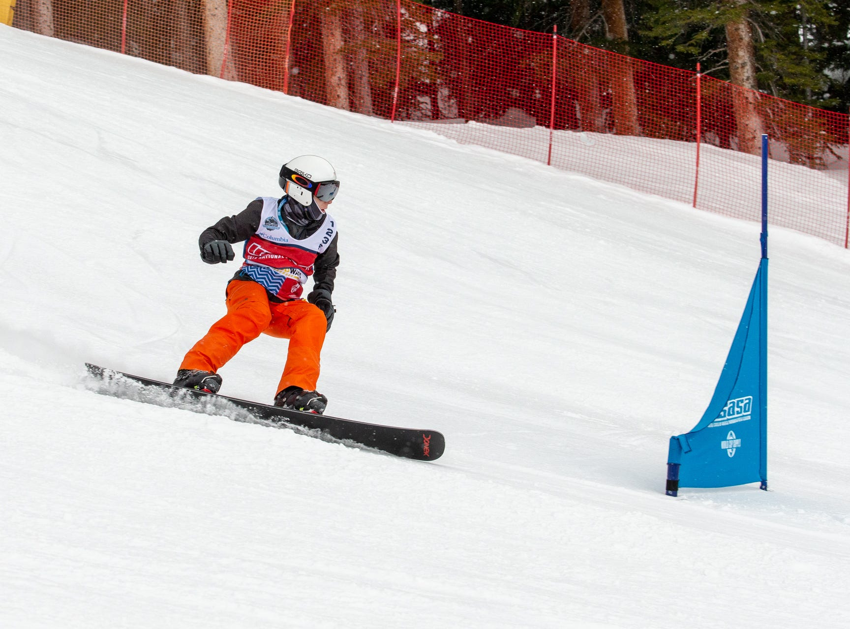 Thomas Lutz of Shasta High / North State snowboarders compete at the 2019 USASA National Championships at Copper Mountain in Colorado.