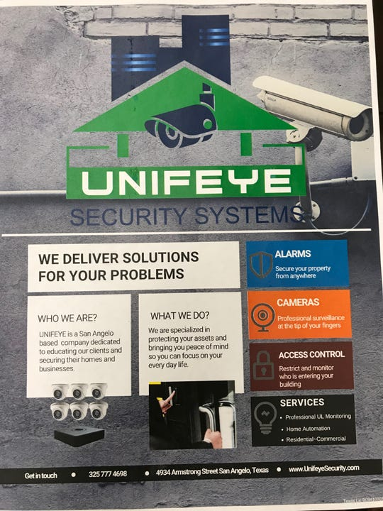 This Unifeye flyer shows some of what the security company does.