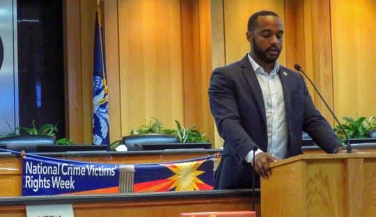 Shreveport Mayor Adrian Perkins reads a proclamation Monday, April 8, 2019, for National Crime Victims' Rights Week.