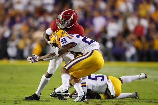 The tackling ability of Greedy Williams (29) has come into question as the 2019 NFL Draft approaches.