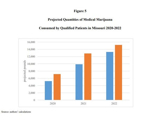 This bar graph shows an MU economist's estimates of how much medical marijuana might be consumed by qualifying Missouri patients over the next few years. Blue marks the low estimates; orange marks the high estimates. Not every industry expert agrees with the projections.